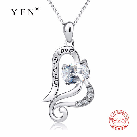 YFN Genuine 925 Sterling Silver Love Open Heart Cute Cat Necklace Infinity Love Crystal Pendants Necklaces Fashion Women Gift