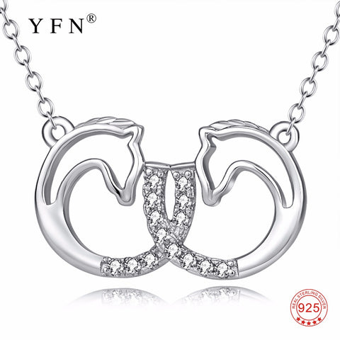 YFN Genuine 925 Sterling Silver Lovely Double Horse Head Pendants Necklaces Infinity Love Necklace Jewelry For Women PYX0194