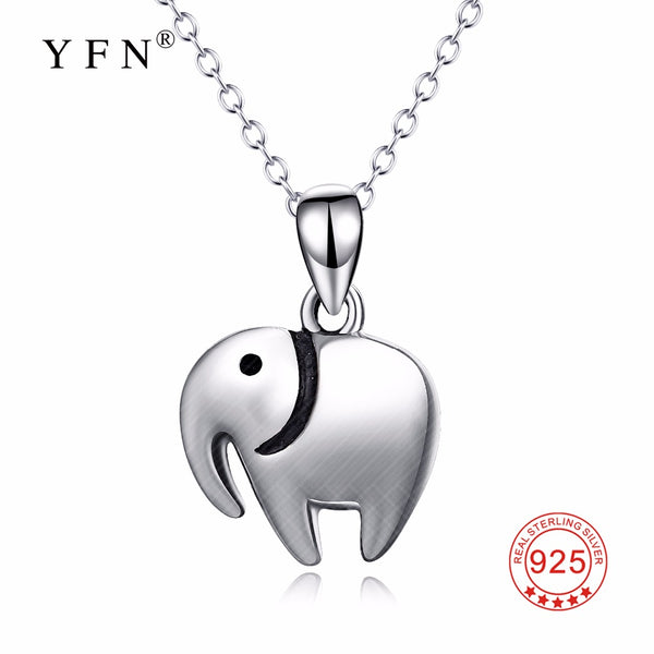 YFN Genuine 925 Sterling Silver Lucky Elephant Pendants Necklaces Lovely Animal Jewelry Fashion Gift For Women PYTZ0007-D
