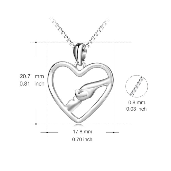 YFN Genuine 925 Sterling Silver Mother & Child Necklace Mother Love Hand In Hand Pendants Necklaces Jewelry Mother's Day Gift