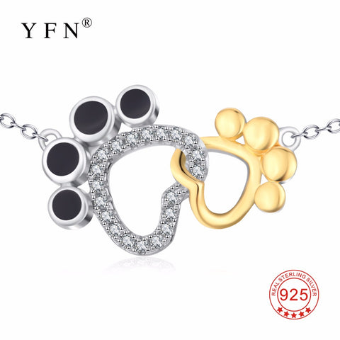 YFN Genuine 925 Sterling Silver Necklace Choker Cute Lovely Puppy Paw Pendants Necklaces Fashion Crystal CZ Jewelry For Women