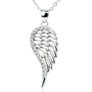 YFN Genuine 925 Sterling Silver Necklace Crystal CZ Angel Wings Pattern Pendants Necklaces Fashion Jewelry For Women GNX0374