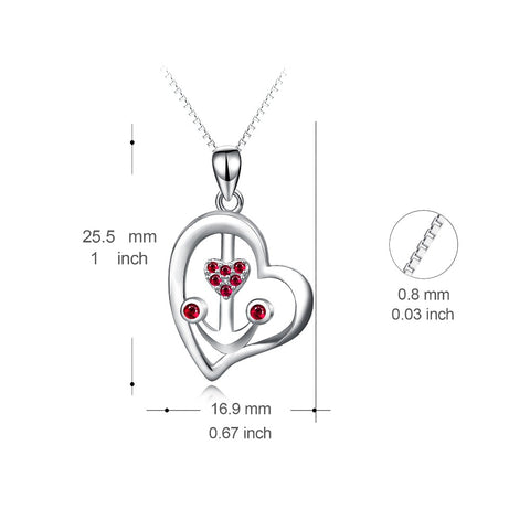 YFN Genuine 925 Sterling Silver Necklace Love Heart Anchor Red Crystal CZ Pendants Necklaces Romantic Jewelry Gift For Women