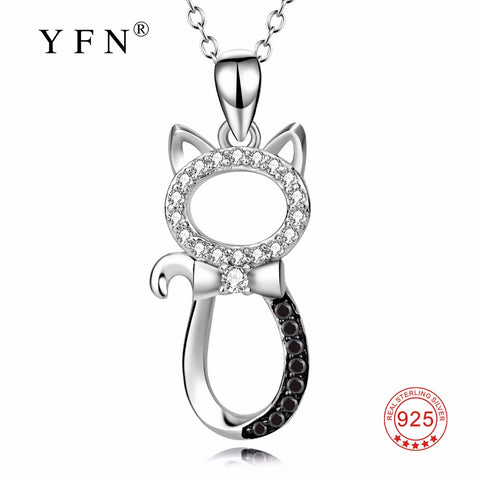 YFN Genuine 925 Sterling Silver Necklace Lovely White Black Crystal Cat Pendants Necklaces Delicate Jewelry For Women PYX0069