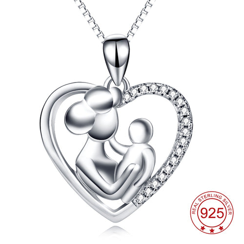 YFN Genuine 925 Sterling Silver Necklace Mother & Child Love Heart Crystal Pendants Necklaces Jewelry Mother's Day gift