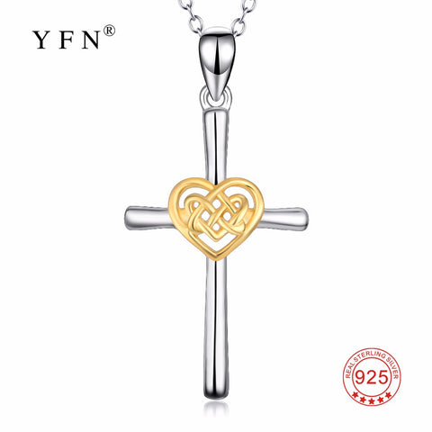 YFN Genuine 925 Sterling Silver Necklace Polished Cross Love Heart Knot Pendants Necklaces New Style Jewelry For Women