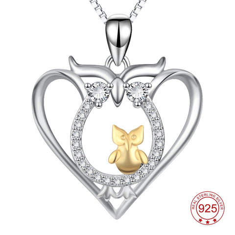 YFN Genuine 925 Sterling Silver Owl Necklace Mother Child Pendants Necklaces Fashion Jewelry For Women Birthday Gift For Mom