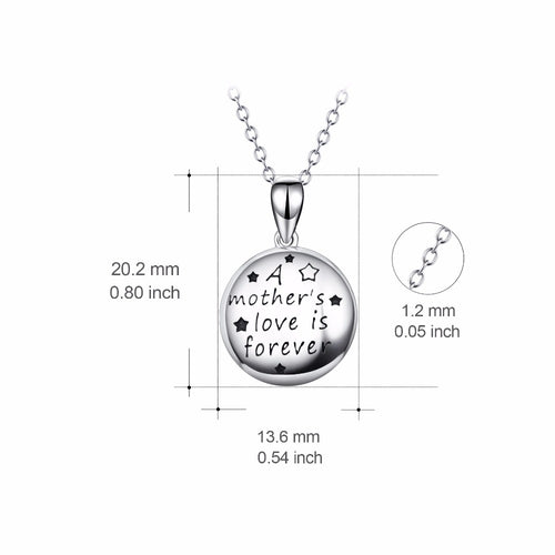 YFN Genuine 925 Sterling Silver Round Pendants Necklaces A Mother's Love Is Forever Collier Fashion New Jewelry For Women