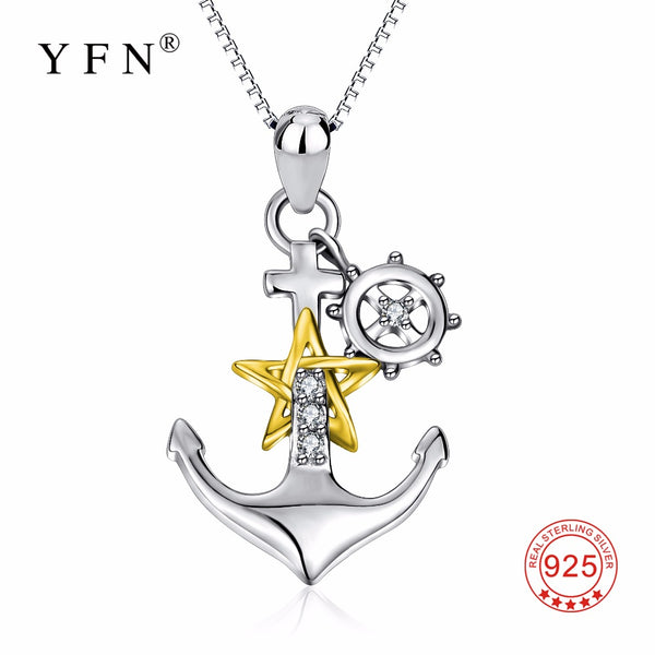 YFN Genuine 925 Sterling Silver Ship Anchor Necklace Gold Star Crystal CZ Pendants Necklaces Fashion Jewelry Gift For Women