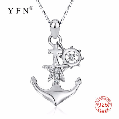 YFN Genuine 925 Sterling Silver Ship Anchor Necklace Star Crystal CZ Pendants Necklaces Fashion Jewelry Gift For Women