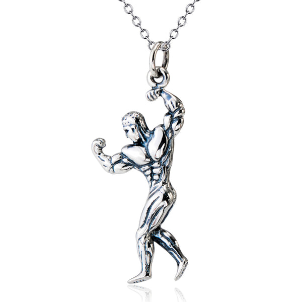 YFN Genuine 925 Sterling Silver Strong Man Bodybuilding Necklace Antique Silver Fitness Jewelry Pendants Necklaces GNX9870