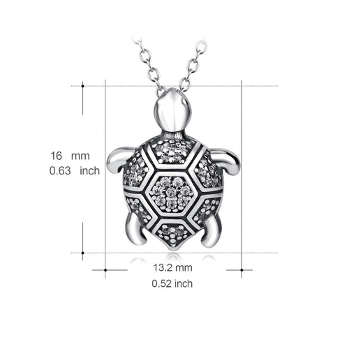 YFN Genuine 925 Sterling Silver Turtle Necklace Vintage Tortoise Crystal Jewelry Fashion Pendants Necklaces For Women