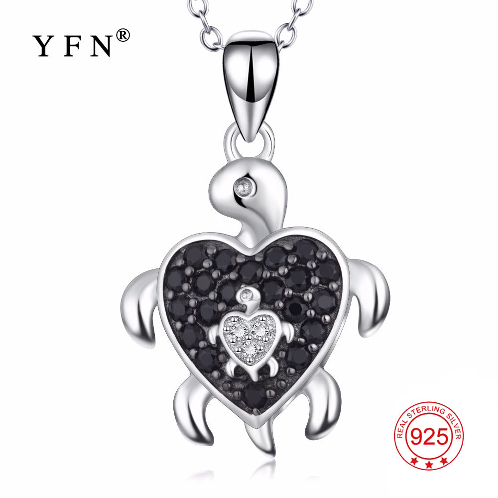 YFN Real 925 Sterling Silver Jewelry Mother & Son Pregnant Turtle Pendants Necklaces Black White Crystal Tortoise Necklace