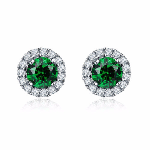 YL 925 Sterling Silver Stud Earrings for Women Fine Jewelry with Green Natural Stone Wedding Earrings Wholesale Jewelry