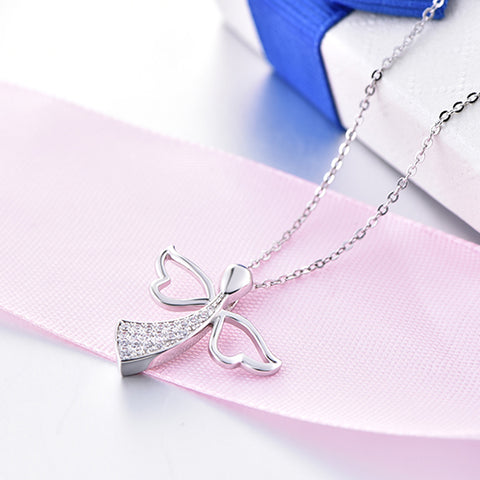 YL Angel Wing 925 Sterling Silver Pendant Necklaces Fine Jewelry for Women Best Gift for Mom Wholesale Wedding