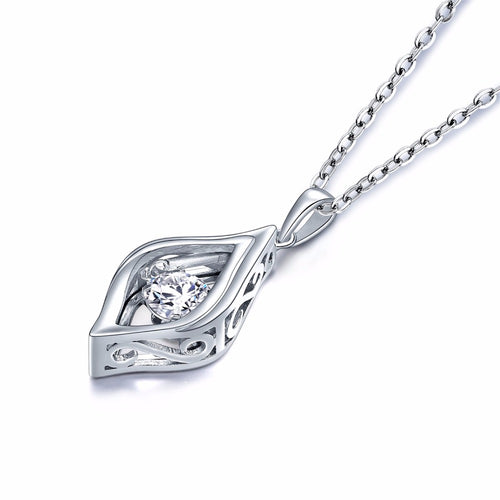 YL Dancing Topaz Geometric 925 Sterling Silver Pendant Necklace for Women Chokers Fine Wedding Jewelry Wholesale