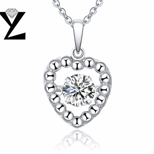 YL Love Heart 925 Sterling Silver Fine Jewelry Pendants Necklaces for Women Dancing Topaz Natural Stone Wholesale Price Jewelry