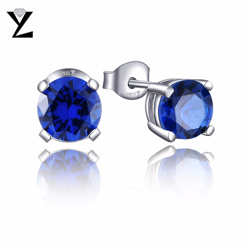 YL Trendy Round 925 Sterling Silver Stud Earrings with 6.5mm Natural Stone Earrings for Women Different Color Selection