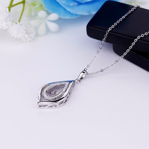 YL Water Drop 925 Sterling Silver Topaz Dancing Natural Stone Pendant Wedding Necklaces for Women Engagement Fine Jewelry