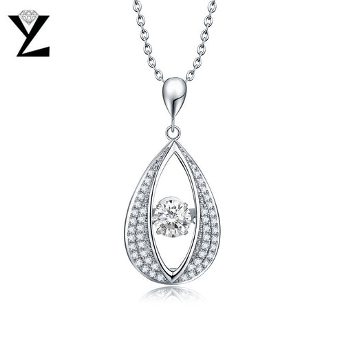 YL Water Drop Silver 925 Sterling Silver Necklaces for Women Wedding Engagement Fine Jewelry Natural Stone Pendant