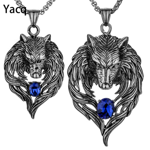 Yacq Couple Necklace Stainless Steel Wolf Pendants Chain Valentine Day Romatic Jewelry Gifts for Hime and Her Dropshipping GN41