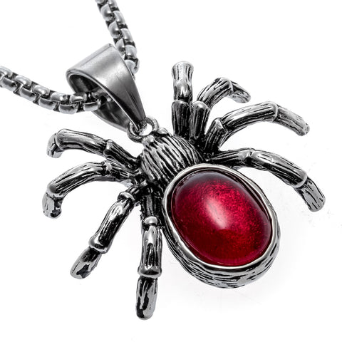 Yacq Spider Necklace Pendant W Chain STainless Steel Jewelry Halloween Party Decor Gifts for Men Women Kids Girls Her A029