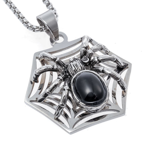 Yacq Spider Necklace Pendant W Chain Stainless Steel Jewelry Halloween Party Decor Gifts for Men Women Kids Girls Her A030