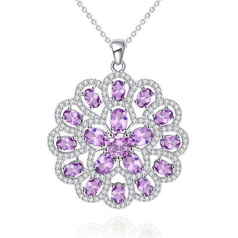 ZHE FAN Trendy Cubic Zirconia Big Flower Pendant Necklace For Women Party Accessories Rhodium Plating Gift Jewelry 6 Colors
