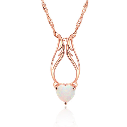 ZHE FAN Women Angel Wings Pendant Necklace White Heart Fire Opal Rhodium Rose Gold Color Plated Jewelry Gifts 3 Ways Wearing