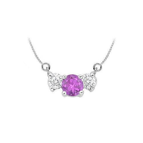 Amethyst and Cubic Zirconia Pendant : .925 Sterling Silver - 1.50 CT TGW-JewelryKorner-com