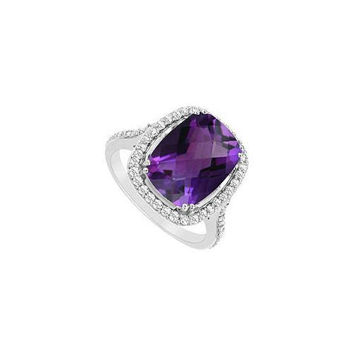 Amethyst and Cubic Zirconia Ring : .925 Sterling Silver - 9.00 CT TGW-JewelryKorner-com