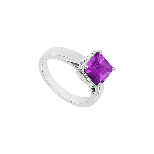 Amethyst and Diamond Ring : 14K White Gold - 1.00 CT TGW-JewelryKorner-com