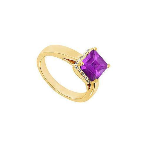 Amethyst and Diamond Ring : 14K Yellow Gold - 1.00 CT TGW-JewelryKorner-com