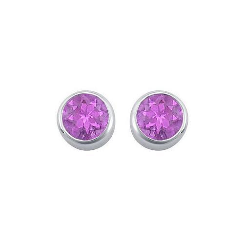 Amethyst Bezel-Set Stud Earrings : .925 Sterling Silver - 2.00 CT TGW-JewelryKorner-com