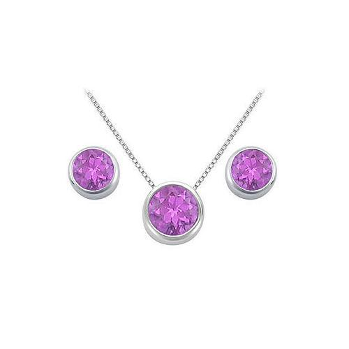 Amethyst Pendant and Stud Earrings Set in Sterling Silver 2.00 CT TGW-JewelryKorner-com