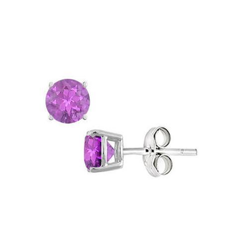 Amethyst Stud Earrings in Sterling Silver 2.00 CT TGW-JewelryKorner-com
