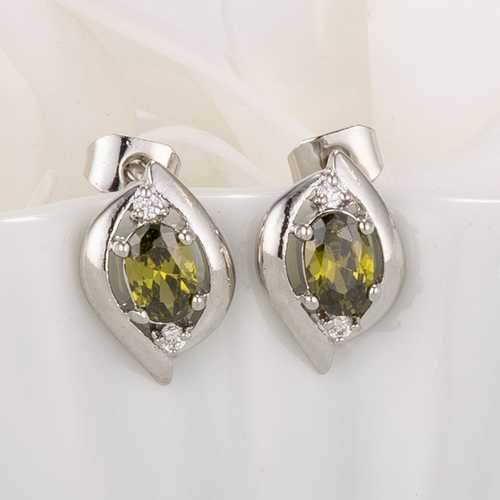 Antique Green Oval CZ Earrings-JewelryKorner-com