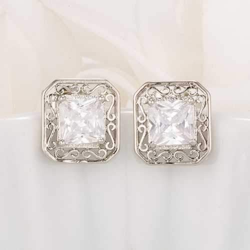 Antique Princess Cut Clear CZ Earrings-JewelryKorner-com