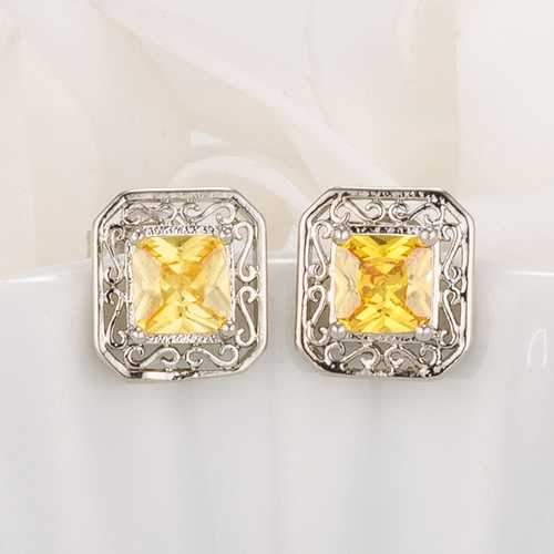 Antique Princess Cut Yellow CZ Earrings-JewelryKorner-com