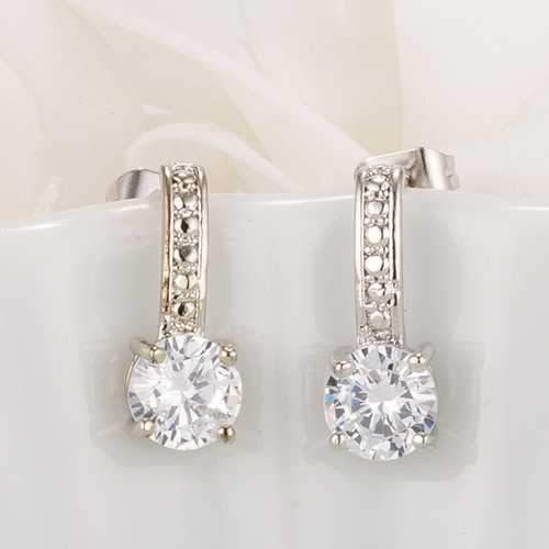 Antique Round Clear CZ Drop Earrings-JewelryKorner-com