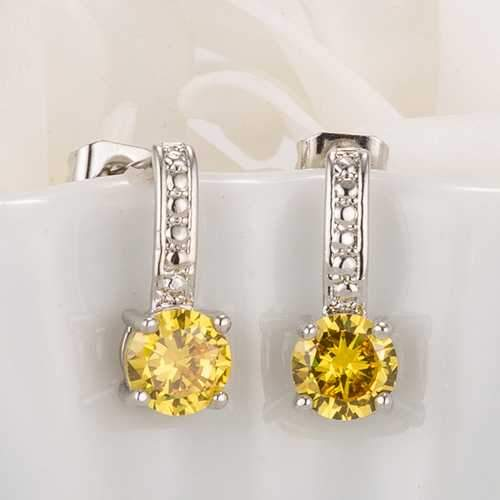 Antique Round Yellow CZ Drop Earrings-JewelryKorner-com