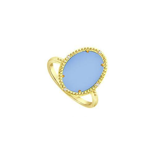 Aqua Chalcedony and Cubic Zirconia Ring in 18K Yellow Gold Overlay Sterling Silver 15.08 Carat T-JewelryKorner-com