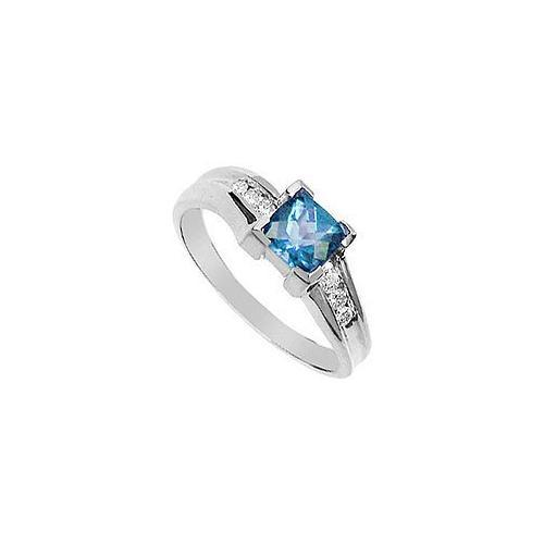 Aquamarine and Diamond Ring : 14K White Gold - 0.75 CT TGW-JewelryKorner-com