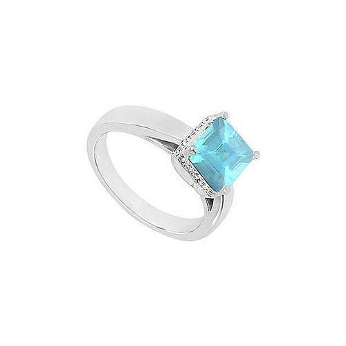 Aquamarine and Diamond Ring : 14K White Gold - 1.00 CT TGW-JewelryKorner-com