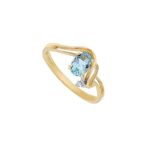 Aquamarine and Diamond Ring : 14K Yellow Gold - 0.50 CT TGW-JewelryKorner-com