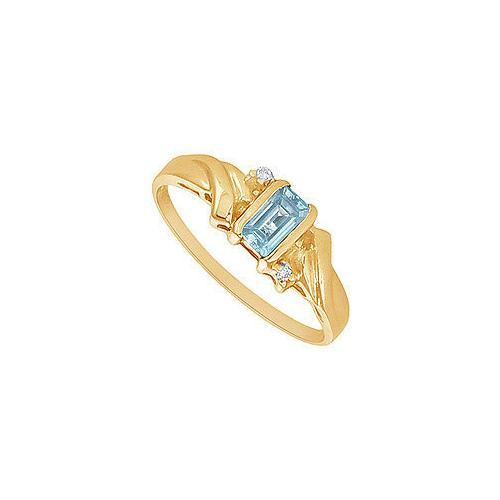 Aquamarine and Diamond Ring : 14K Yellow Gold - 1.00 CT TGW-JewelryKorner-com