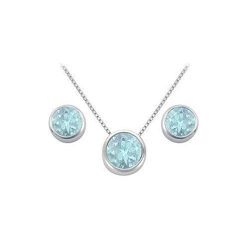 Aquamarine Pendant and Stud Earrings Set in Sterling Silver 2.00 CT TGW-JewelryKorner-com