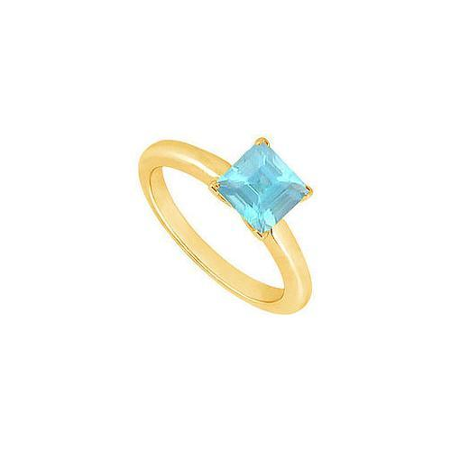 Aquamarine Ring : 14K Yellow Gold - 0.75 CT TGW-JewelryKorner-com
