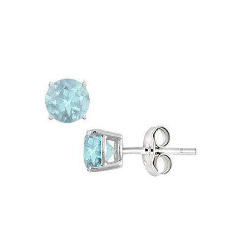Aquamarine Stud Earrings in Sterling Silver 2.00 CT TGW-JewelryKorner-com