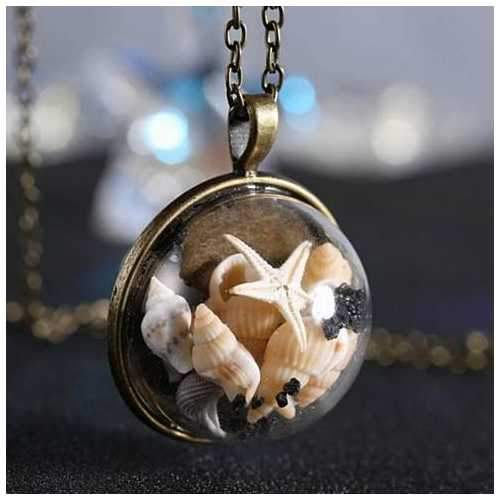 BEACH GIRL Sea Shells In Glass Locket Pendant Necklace-JewelryKorner-com